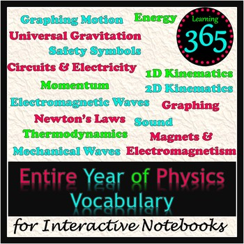 Entire Year of Physics Vocabulary for Interactive Notebooks