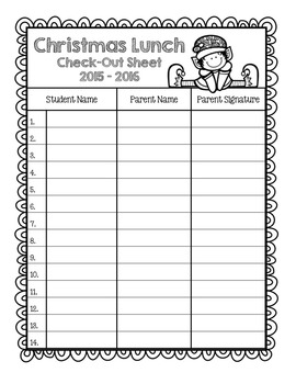 Entire Year of School Sign Out Sheets