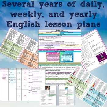 Entire year of Daily and Weekly Lesson plans for 8th grade English
