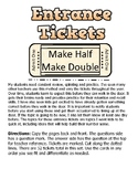 Entrance Tickets - Number Sense - Double and Half
