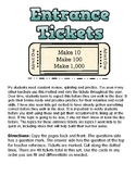 Entrance Tickets - Number Sense - Make 10, 100, and 1,000