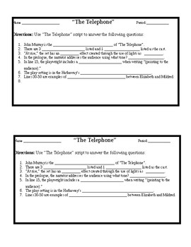 """Entrance or Exit Tickets for """"The Telephone"""" by John Murray"""