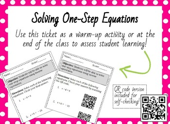 Entrance or Ticket- One-Step Equations