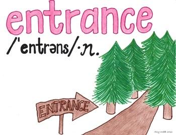 Entrance to a Path Cartoon--Printable Montessori Homograph Card