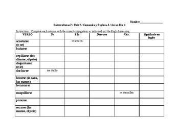 Entreculturas 2 Unit 2 Reflexive Chart Activity