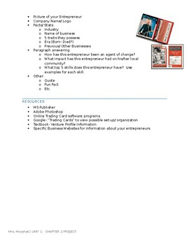 BUSINESS - Successful Entrepreneur Trading Card Assignment