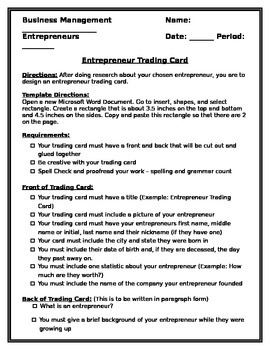 Entrepreneur Trading Card Project