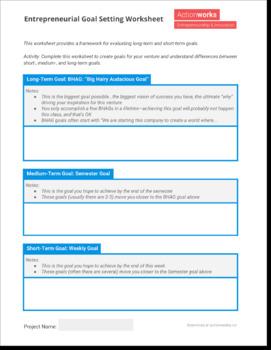 Entrepreneurial Goal Setting Worksheet