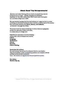 RoadTrip Entrepreneurial: Printable Critical Thinking Q&A Activity