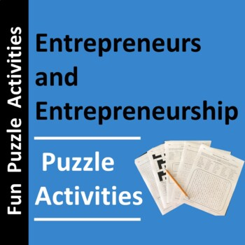 Business Entrepreneurs & Entrepreneurship Activities, Word Search, and Puzzles