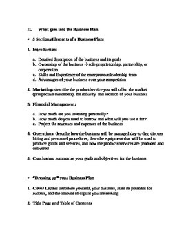 Entrepreneurship - Chapter Notes and Test - Developing a Business Plan