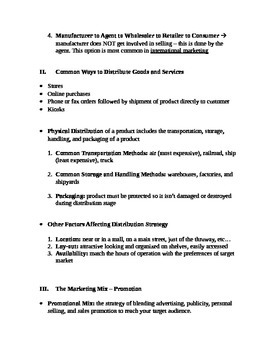 Entrepreneurship - Chapter Notes and Test - Distrib. and Promotion Strategies
