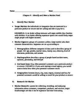 Entrepreneurship - Chapter Notes and Test - Identify and Meet a Market Need
