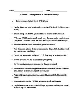 Entrepreneurship - Chapter Notes and Test - Market Economy
