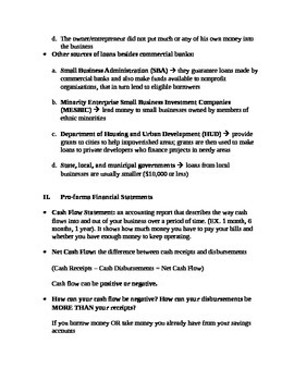 Entrepreneurship - Chapter Notes and Test - Plan and Track your Finances