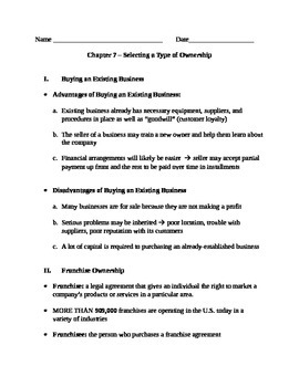 Entrepreneurship - Chapter Notes and Test - Types of Ownership