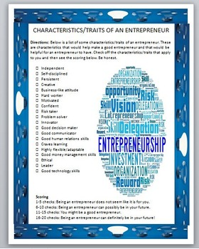 Entrepreneurship- Characteristics-Traits of an Entrepreneur Checklist Activity