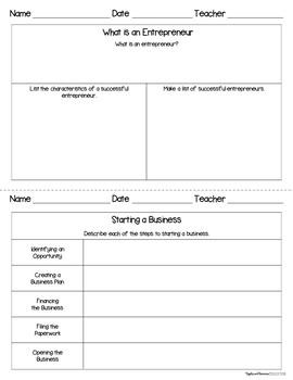 Entrepreneurship - Interactive Note-taking Activities