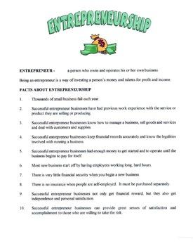 Entrepreneurship Lesson