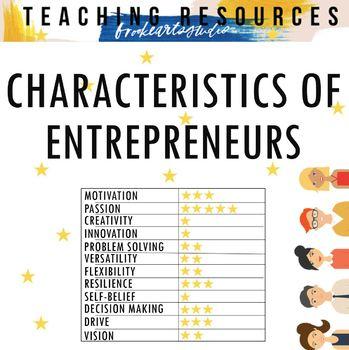 Entrepreneurship Unit Activities & Project - Characteristics #3