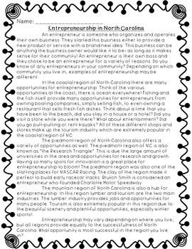 Entrepreneurship in NC Informational Text