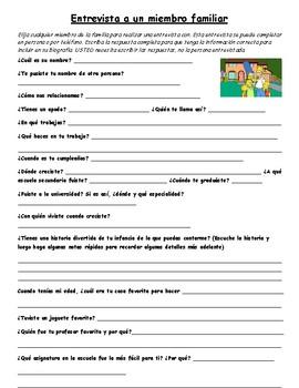 Entrevista a un familiar. Interview a family member in Spanish. Investigación