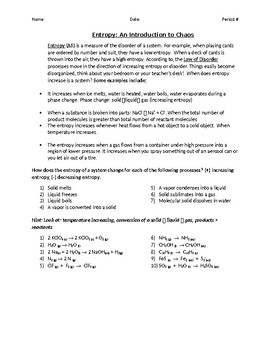 Entropy Explanation and Practice Problems