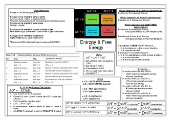 Entropy & Free Energy Chapter Review/Summary/Distillation Sheet