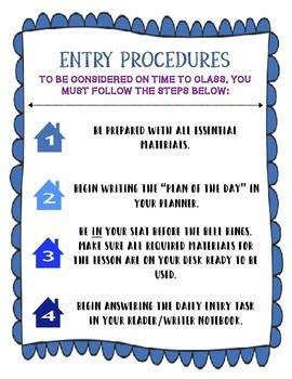 Entry/Exit Classroom Procedures