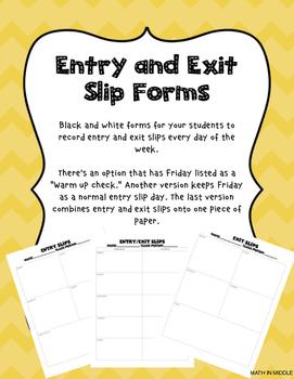 Entry / Exit Slip Form