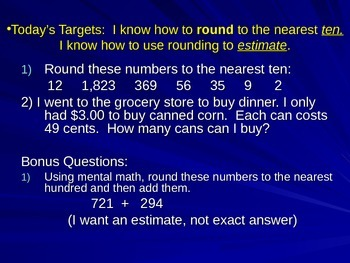 Entry Task PowerPoint- Rounding and Place Value 4th grade