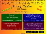 Entry Tasks 6th Grade Math ~ CCSS !!