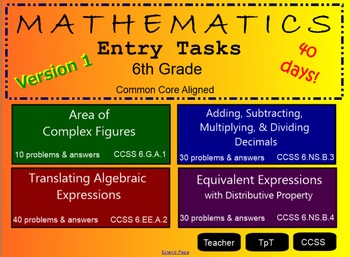 Entry Tasks 6th Grade Math ~ CCSS !!