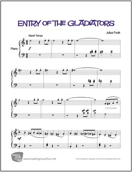 Entry of the Gladiators | Sheet Music for Easy Piano (Digi