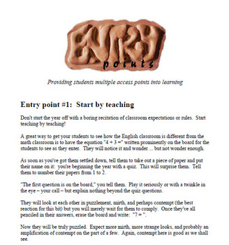 Entry point #1: Start by teaching