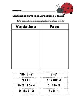 Enunciados numericos verdaderos y falsos/True and False Number Sentence Sort