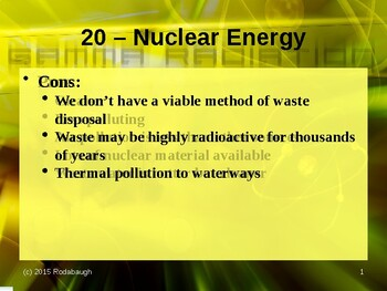 Env. Biology - Lecture 20 - Nuclear Energy