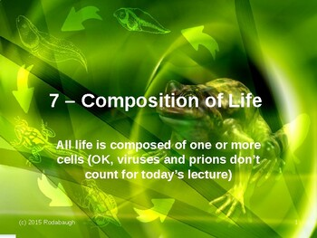 Env. Biology - Lecture 7 - Composition of Life