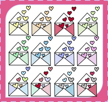 Envelope Clipart / Valentine's Day Clipart / Hearts Clipart