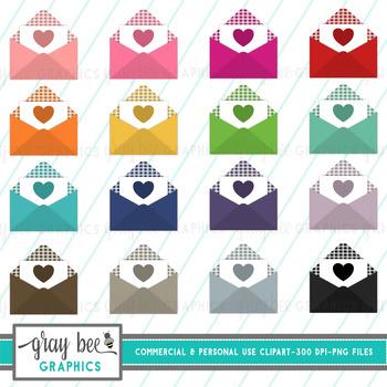 Envelope-Open Gingham Heart-Clip Art Pack