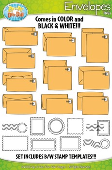 Envelopes and Postal Stamps Clipart Set — Includes 50 Graphics!
