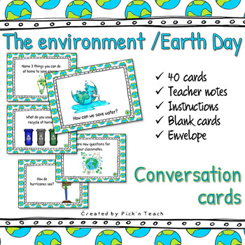 photo relating to Printable Conversation Cards identify Earth / World Working day - Interaction playing cards / Undertaking playing cards -PRINTABLE variation