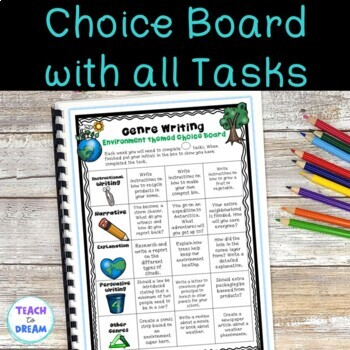 Environment Genre Choice Board with Worksheet Templates and Assessments