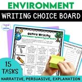 Environment Theme Writing Choice Board: Recount, Persuasive, Narrative, Genres