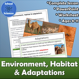 Environment, Habitat and Adaptations Activity, Worksheet and PowerPoint