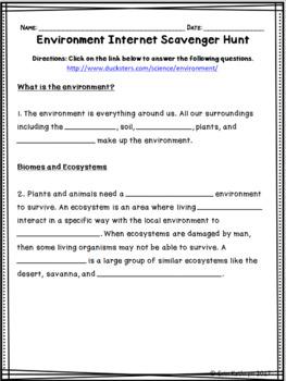 Environment Internet Scavenger Hunt WebQuest Activity