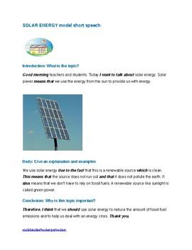 Environment resource: solar power model speech