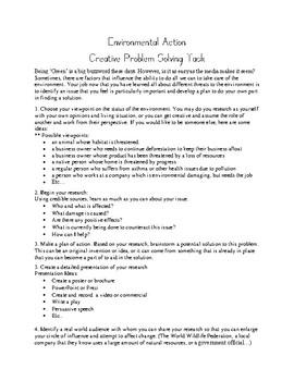 Environmental Action- Creative Problem Solving Task