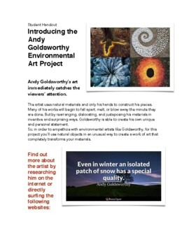 Environmental Art/Andy Goldsworthy Project handout (with evaluation)