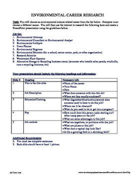 Environmental Career Research